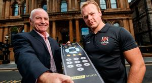 On screen: Premier Sports' Mark Robson with Ulster's Luke Marshall at yesterday's launch in Belfast