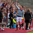 Hearts' Kyle Lafferty celebrates at full time during the Ladbrokes Scottish Premiership match at Tynecastle Stadium, Edinburgh. Pic: Craig Watson/PA Wire.