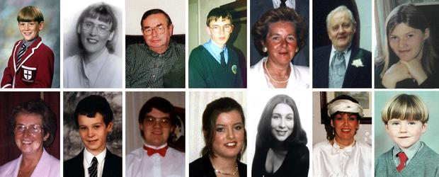 Victims of the Omagh bombing included (top row, from the left) 12-year-old James Barker, Esther Gibson, Sean McGrath, Gareth Conway, Elizabeth Rush, Fred White, Lorraine Wilson and (bottom row, from the left) Veda Short, Alan Radford, Bryan White, Brenda Logue, Deborah Cartwright, Geraldine Breslin, and Oran Doherty. (PA)