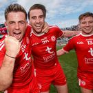 Tyrone's Ronan O'Neill, Conall McCann and Mark Bradley celebrate after the game Mandatory Credit ©INPHO/James Crombie