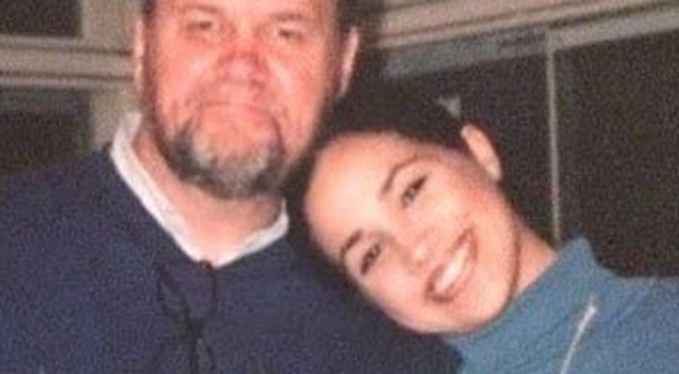 A younger Meghan Markle with her father Thomas