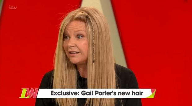 Gail Porter cries as she wears wig for the first time in 13 years (ITV/Loose Women grab)