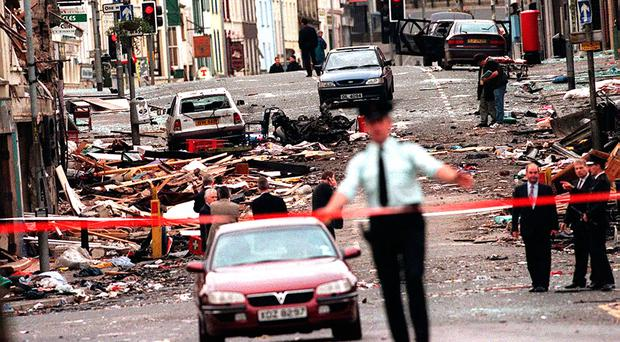 Omagh town centre cordoned off following the Real IRA atrocity