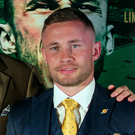 Headline act: Luke Jackson and Carl Frampton alongside promoter Frank Warren