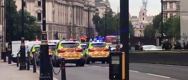 Picture taken with permission from the Twitter feed of Ewelina U Ochab of the car (right)which crashed into security barriers outside the Houses of Parliament. PRESS ASSOCIATION Photo. Picture date: Tuesday August 14, 2018. See PA story POLICE Westminster. Photo credit should read: Ewelina U Ochab/Twitter/PA Wire