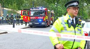 A fire engine near the Houses of Parliament, Westminster in central London, after a car crashed into security barriers outside the Houses of Parliament. PRESS ASSOCIATION Photo. Picture date: Tuesday August 14, 2018. See PA story POLICE Westminster. Photo credit should read: Yui Mok/PA Wire