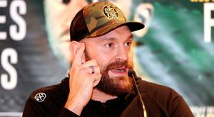 Tyson Fury during the press conference at the Europa Hotel, Belfast. PRESS ASSOCIATION Photo. Picture date: Tuesday August 14, 2018. See PA story BOXING Belfast. Photo credit should read: Niall Carson/PA Wire