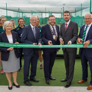 Big day: Cutting the ribbon at the opening of the Cricket Ireland High Performance Centre are (from left) Aideen Rice, Cricket Ireland president; John Treacy, CEO of Sport Ireland; Cllr Anthony Lavin, Mayor of Fingal; Brendan Griffin, Irish Minister for Sport; Ross McCollum, Cricket Ireland chairman; and Dave Richardson, CEO of the International Cricket Council