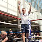 Carl Frampton during the public work out at Castle court in Belfast on Wednesday, ahead of Carl Frampton fight with Like Jackson at Windsor Park on Saturday night, with Tyson Fury tackles two-time world title challenger Francesco Pianeta. Picture Colm Lenaghan/ Pacemaker