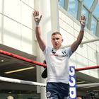 Carl Frampton during the public work out at Castle court in Belfast on Wednesday