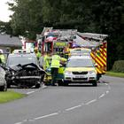 The scene of a serious car accident on the Gracehill Road near Ballymoney, the accident happened at a crossroads known locally as