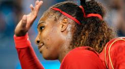 Goodbye folks: Serena Williams waves to the crown after her defeat to Petra Kvitova in Cincinnati
