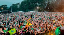 The audience at the Feile's closing Wolfe Tones' concert, where pro-IRA chanting was heard and IRA flags were flown