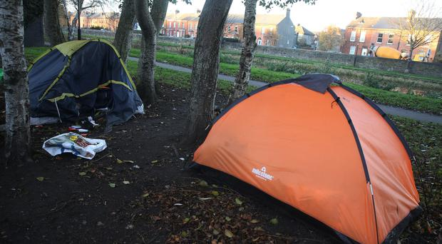 Tents belonging to homeless people on the banks of the Royal Canal near Dublin's city centre (Brian Lawless/PA)