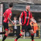 On target: Ross Clarke celebrates his goal against Ballymena United last weekend
