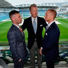 Big stage: Carl Frampton, Frank Warren and Luke Jackson at Windsor Park yesterday
