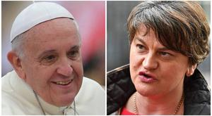 Arlene Foster has turned down an invitation to an event during the Pope's visit.