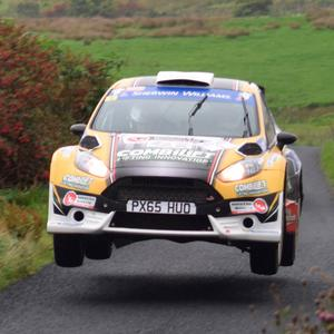 Leaping ahead: Josh Moffett held the overnight lead in the Ulster Rally