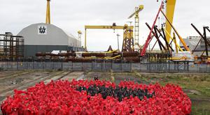 World Record attempt in the Titanic quarter in East Belfast for the Largest Poppy created using people. Pic by Peter Morrison