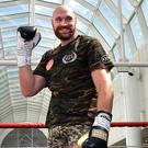 BELFAST, NORTHERN IRELAND - AUGUST 15: Tyson Fury during an open public workout at Castle Court on August 15, 2018 in Belfast, Northern Ireland. The Carl Frampton boxing bill also featuring Tyson Fury and Paddy Barnes takes place on Saturday night at Windsor Park. (Photo by Charles McQuillan/Getty Images)