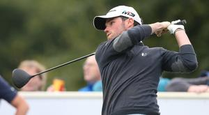 Cormac Sharvin tees off at the NI Open.