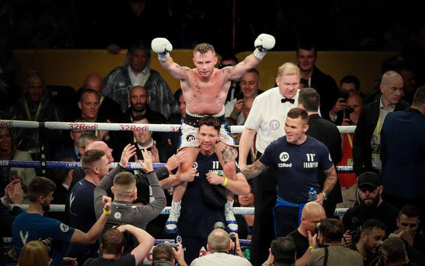 Carl Frampton celebrates victory at Windsor Park as he stopped Luke Jackson in the ninth round.