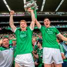 Green giants: Limerick's Cian Lynch and Declan Hannon celebrate after holding off a rousing Galway fight-back to snatch a dramatic one-point win