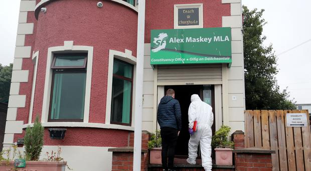 Police at the scene of an arson attack at Connolly House in west Belfast on August 20th 2018 (Photo by Kevin Scott for Belfast Telegraph)