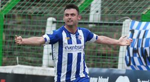 Coleraine striker Eoin Bradley netted Coleraine's late equaliser at the Oval.