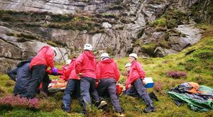 Volunteers at the scene of the rescue. Pic: Mourne Mountain Rescue Team.