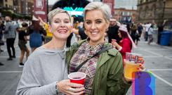 Music fans out at Custom House Square to see DJ's Sasha & Digweed at part of CHSq. Saturday 18th August 2018. Picture by Liam McBurney/RAZORPIX