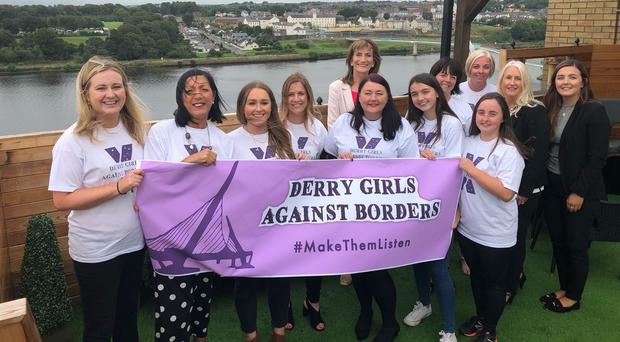 The group Derry Girls Against Borders, who have called on those involved in the Brexit negotiations to listen to the fears and anxieties of those living in border communities (Handout/PA)