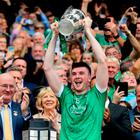 Limerick's Declan Hannon lifts the Liam MacCarthy Cup at Croke Park