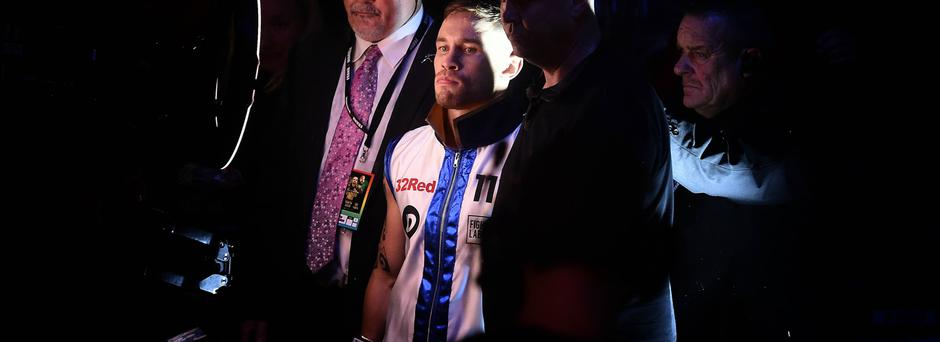 Carl Frampton wearing the jacket before entering the ring at Windsor P ark(Photo by Charles McQuillan/Getty Images)