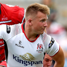 In hand: Ulster new boy Stewart Moore in action against Gloucester on Saturday