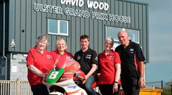 Good cause: Ulster Grand Prix Ultra Lightweight Race winner Christian Elkin is joined by Sheila Stinton, Yvonne Ward and Jan Simm from the Injured Riders' Welfare Fund and Clerk of Course Noel Johnston