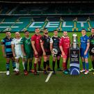 Leading men: Ulster skipper Rory Best (second left) with rival captains at yesterday's PRO14 launch at Celtic Park in Glasgow