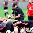 First day: Dan McFarland puts the scrum through their paces at Pirrie Park yesterday