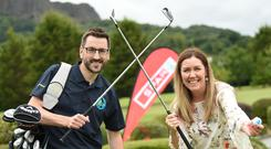 Stephen Knox, Wee Oscar's Dad and founder of The Oscar Knox Cup celebrates SPAR NI coming on board as title sponsor for the 2018 event with Bronagh Luke, Head of Corporate Marketing at the Henderson Group.