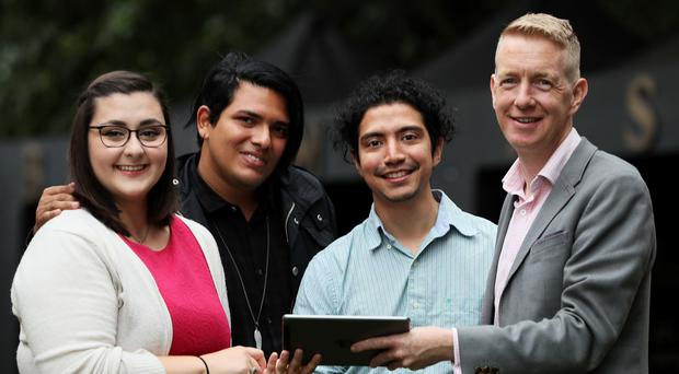 Tiernan Brady (right), Director of Equal Future, with (from left) Emily Dever, a recent graduate of a Catholic Jesuit university who identifies as bisexual/pansexual, Carlos Velasquez, from Venezuela, and Xorje Olivares, host of a radio programme focusing on LGBTQ and Latino issues (Brian Lawless/PA)