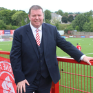 Proud day: Larne chairman Gareth Clements at Inver Park on Saturday, where over 1,100 people were in attendance following a Family Fun Day