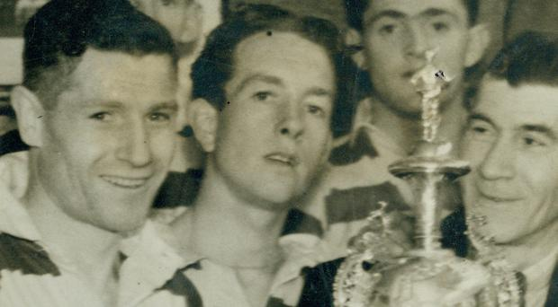 History: Belfast Celtic's Charlie Tully with the Irish Cup in 1947