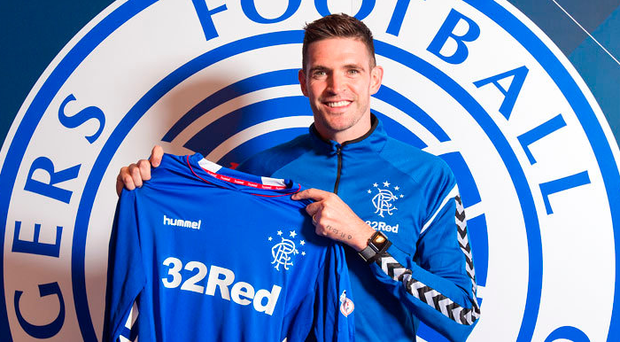 Blue heaven: Kyle Lafferty on his return to Rangers yesterday
