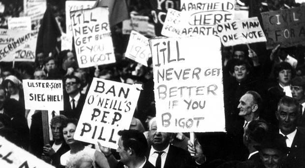 Some of the placards carried by marchers in 1968