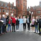 Pupils at Campbell College celebrate their results.