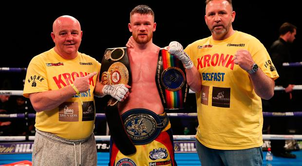 Belt up: James Tennyson after capturing the European title