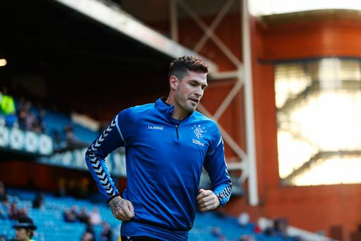 GLASGOW, SCOTLAND - AUGUST 23: Kyle Lafferty of Rangers is seen prior to the first leg of the UEFA Europa League Play Off match between Rangers and FC Ufa at Ibrox Stadium on August 23, 2018 in Glasgow, Scotland. (Photo by Ian MacNicol/Getty Images)