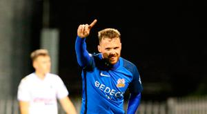 Final say: Andy Hall celebrates after putting the gloss on Glenavon's 4-0 triumph over Ballymena United at Mourneview Park