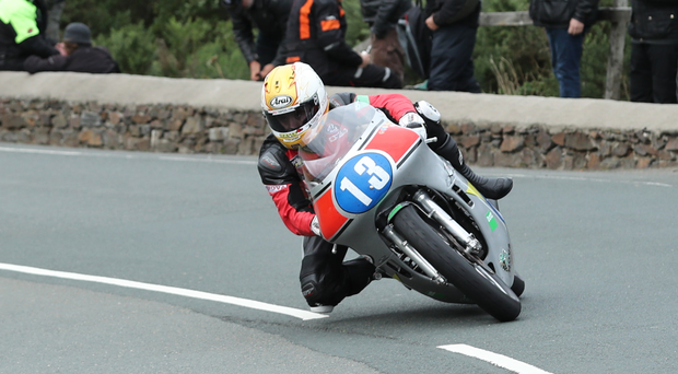 On the road: Lee Johnston powers on in the Junior Classic TT