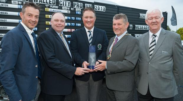 Prize guy: (l-r) runner-up Simon Thornton; title sponsor Ciaran O'Neill of Bishop's Gate Hotel; 2018 winner Michael McGeady; Derek Hussey, deputy mayor of Derry City and Strabane District Council; and Michael McCumiskey, PGA in Ireland
